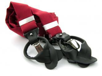 Suspender 100% Silk - Middle Red