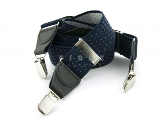 Suspender Elastic -  Navy/Dots White