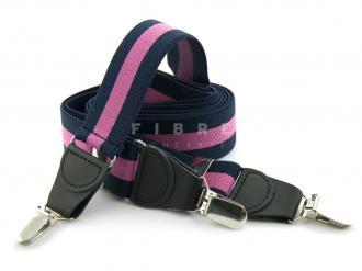 Suspender Elastic - Stripe Navy/Fuchsia