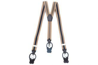 Bretels Elastiek Luxury 28 - streep camel/marine