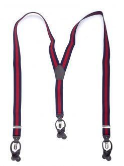 Bretels Elastiek Luxury 34 - streep marine/rood