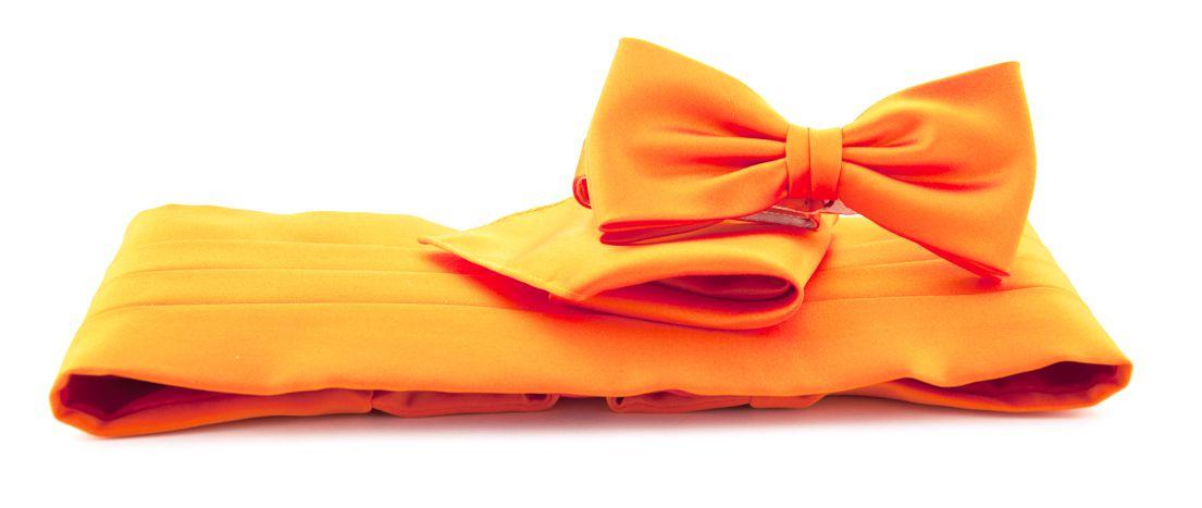cumberbandset poly satijn oranje
