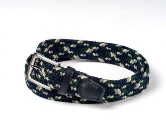 Riem gevlochten groen/navy/grijs/wit