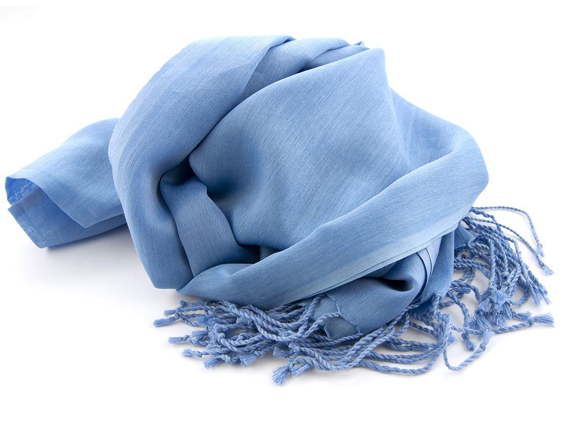 shawl katoenzijde nos 05 midden blauw 50x180cm
