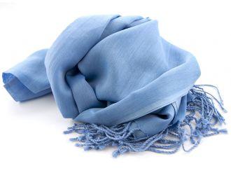 Shawl Katoen/Zijde NOS 05 - Midden blauw 50x180cm