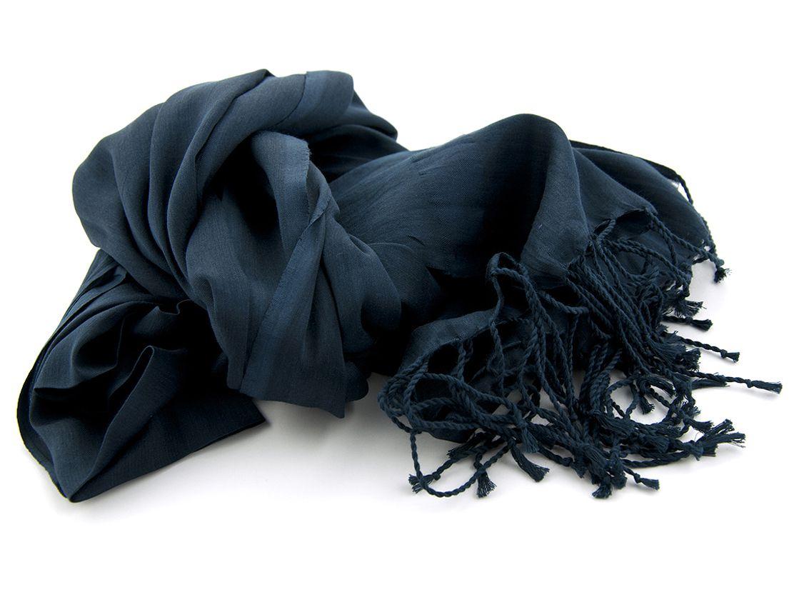 shawl katoenzijde nos 35 navy 50x180cm