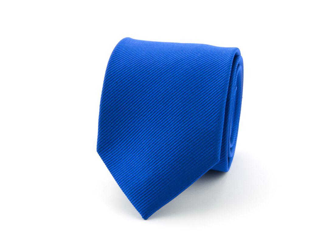 stropdas polyester uni uitlopend kobalt